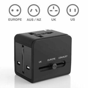Universal International Adapter Adaptor Travel Charger 2x USB Smart Plug Charger