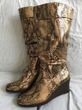 Gold/Bronze/Copper Faux Snakeskin Wedge Boots Size 9 Retro/Disco Style Curations