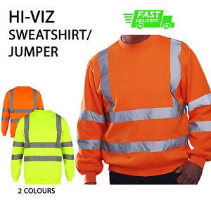 PLAIN NO TEXT Hi Viz SWEATSHIRT JUMPER High Visibility Work Wear Safety HVJ510 P