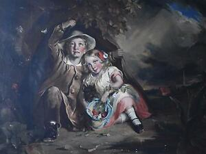 Siblings Sheltering  in a Storm Antique Oil Painting Thomas Pelham Hall 1853/8
