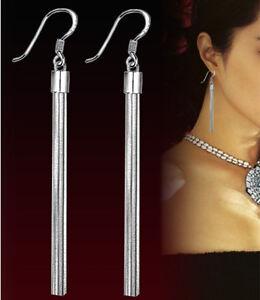 Damen 925 Sterling Silber Lange Schlange Kette Ohrringe Ohrstecker Ohrschmuck
