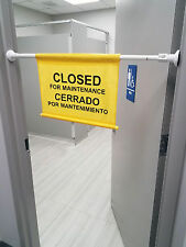 Safety Sign Closed for Maintenance Caution Doorway Hanging Sign Expends to 52 In