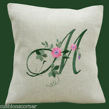 "BRAND NEW LAURA ASHLEY LINEN WITH FLORAL LETTER * EMBROIDERED 16"" CUSHION COVER"