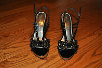 Womens WHITE HOUSE BLACK MARKET Black Leather Heels Shoes Size 8 M ~NICE~