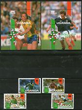 UGANDA 1990 ITALY FOOTBALL WORLD CUP SET & BOTH MINIATURE SHEETS MNH (a)