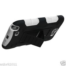 Samsung Galaxy Note II 2 Hybrid C Armor Case Skin Cover w/ Stand Black White