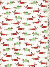 White Christmas Dachshunds Dogs by Dear Stella bty