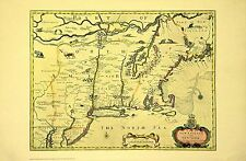New York New England 17th Century Map NYC Public Library Out Of Print Ltd Ed