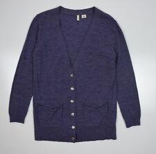 MOTH Anthropologie Purple Heathered Wool Blend Knit Cardigan Sweater Shirt Top S