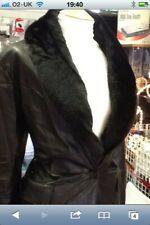 M&S Ladies 3/4 Length M & S Faux Leather Jacket Coat Detachable Fur Collar 20-22