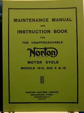 1956 NORTON Maintance Manual & Instruction Book For Models  No.16-H  Big 4  & 18