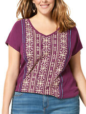 Sonoma ladies top t-shirt plus size 18/20 22/24 26/28 pure cotton ethnic print