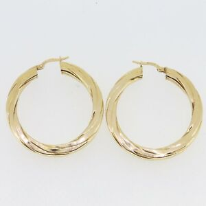 9ct Gold Earrings - 9ct Yellow Gold Patterned Hollow Hoop Earrings