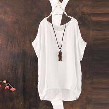 Women Summer Plain Scoop Neck Short Sleeve T-shirt Blouse Tee Tops Plus Size8-24