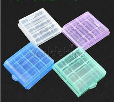 Portable 4 x Plastic Translucent Case Holder Storage Box for Aa Aaa Battery New