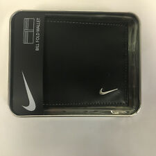 NIKE GOLF BILLFOLD Wallet Men's Bi Fold Black Leather Grey Stiching 63858