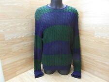 "Mens Ralph Lauren 100% Cotton Cable Knit Jumper XL Chest 42"" Long Blue Green"