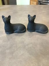 Lot of 2 Vintage Cast Stone Chalkware Cat Figurine Black Tara Gift Sculptures