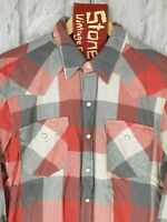 Levis Red Grey White Check Linen Cotton Pearl Snap Western L/S Shirt M £130 New