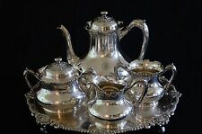 VINTAGE REED & BARTON SILVER PLATED 4 PIECE TEA SET WITH FOOTED SERVING TRAY