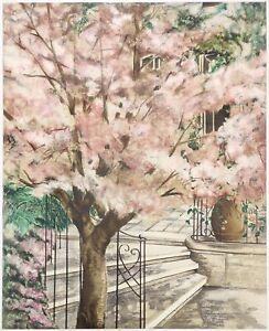 "SUSAN SAHALL ""FLOWERING TREE"" | SIGNED SERIGRAPH | LARGE 37X30"" | MAKE AN OFFER"