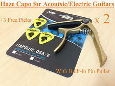 2 X HAZE One-handed Change Acoustic/Electric Guitar Capo,pin puller,Gold+3 Picks