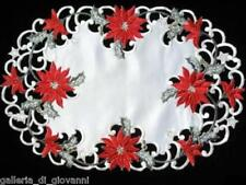 """Christmas Red Poinsettia Lace Placemat Doily Dresser Scarf  17"""" x 11"""""""