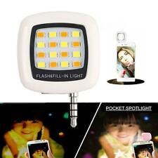 16 LED Camera Selfie Fill Flash Light 3.5mm For Android IOS iPhone 5s 6 White ZH