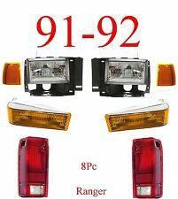 91 92 Ford Ranger 8Pc Head Light Kit W/ Parking, Side Lights & Tail Lights!