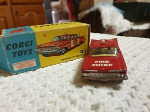 Corgi vintage diecast cars trucks vans. Chevrolet Fire chief 439