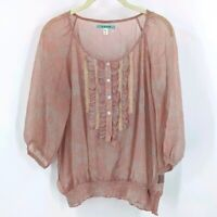 Pleione Cottagecore Puff Sleeve Blouse Small Pink Semi Sheer 3/4 Sleeve Top