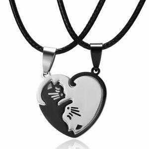 2Pcs Stainless Steel Cat Pendant Necklace Women Men Lovers Jewellery Couple Gift