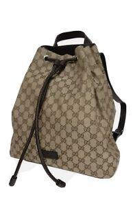 Gucci Beige/Brown GG Canvas With Leather Trim Drawstring Backpack