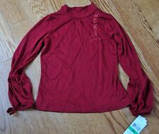 Guess Girls Top Shirt Size L 6X New with Tags Dark Red Bubble Sleeve and Sparkle