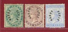 India States, Nabha 1885 #1-3, Hinged, OG, SCV $126.25
