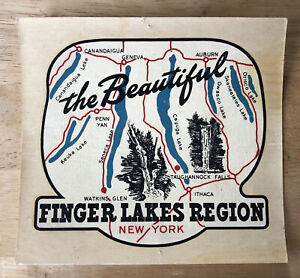 NEW Vintage Souvenir Travel Decal Sticker Finger Lakes Watkins Glen Penn Yan etc