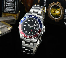 sapphire glass GMT watch 40mm Black sterile dial Red/Blue Bezel Automatic
