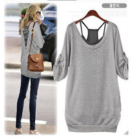 US New Women Sexy Batwing Blouse Long Sleeve Loose Casual Tops Tank Vest T Shirt
