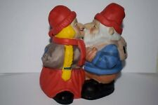 VTG Swedish Kissing Gnomes Funny Figurine Porcelain Bisquite Tomten Valentine