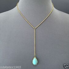 Bohemian Style Gold Finish Chain Turquoise Stone Decor Charm Pendant Necklace