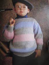 child knitting pattern stripe jumper 2-8 years 8 ply