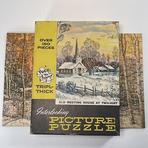 "Vintage Tuco Puzzle ""Old Meeting House At Twilight""COMPLETE Interlocking"