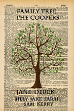 Personalised Family Tree Vintage Style Dictionary Page Word Art