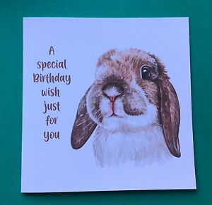 Beautiful Rabbit Birthday Card