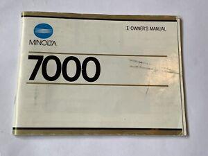 Genuine Minolta 7000 Instruction manual forMinolta 7000 35mm SLR camera