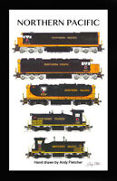 """Northern Pacific Locomotives 11""""x17"""" Poster in 12""""x18"""" mat Andy Fletcher signed"""