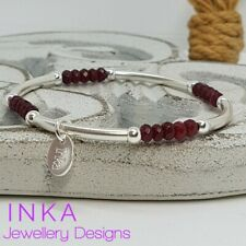 Inka 925 Sterling Silver & Ruby Red Agate bead Stacking Bracelet with INKA tag
