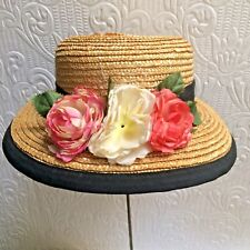 Cute Vintage 1930's Straw Hat With Flowers