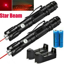 Us Stock 2Pc Red Laser Pointer Pen Star Beam Cat Toy Laser+18650 Battery+Charger