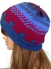 Hand Knit Hat Beanie Slouch Beret Desiner Fashion Multicolor Purple Blue Hip